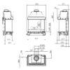 Kominek gazowy Kalfire GP70_55S rysunek techniczny
